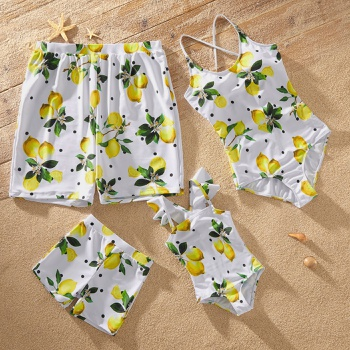 Family Look Lemon Print One-piece Matching Swimsuits
