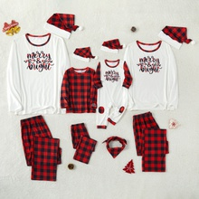 Christmas Letter Top and Plaid Pants Family Matching Pajamas Sets Within Plaid Christmas Hats (Flame Resistant)
