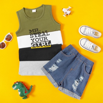 2-piece Baby/Toddler Casual Letter Top and Denim Shorts Set