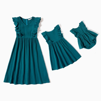 100% Cotton  Ruffle Decor Solid Tank Dresses for Mommy and Me