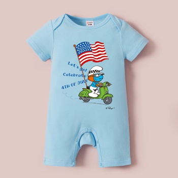 Smurfs Baby Boy Motorcycle Print 4th of July Cotton Romper