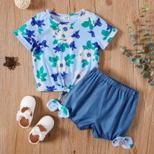 Toddler Girl Floral Top and Shorts  Sets