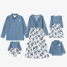 Mosaic Family Matching Denim Sets((Floral Flounce V-neck Dresses - Solid Button Front Shirts  - Rompers)
