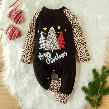 Baby Merry Christmas Leopard Tree Jumpsuit