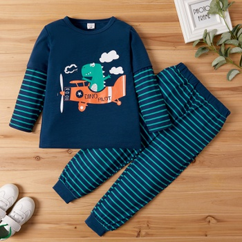 2-piece Toddler Boy Animal Dinosaur Cartoon Pattern Striped Long-sleeve Tee and Harem Pants Set