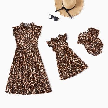 Mommy and Me Leopard Sleeveless Dresses