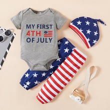 3pcs Baby Boy Short-sleeve casual Letter&Stars&Stripes Baby's Sets