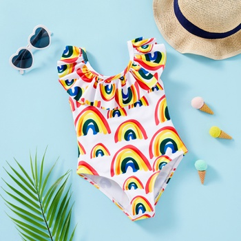 Toddler Girl Rainbow Print Ruffle Swimsuit