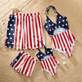 Red Stripe Stars Flag Family Matching Swimsuits