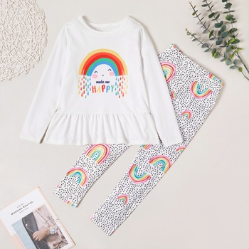 Pretty Rainbow Letter Print Longsleeves Dress and Allover Pants