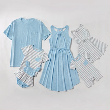 Mosaic Family Matching Blue Stripe Cotton Tank Dresses - Rompers - Tops