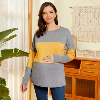Maternity Round collar Color Block Plain Yellow Long-sleeve Nursing Tee