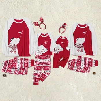 Christmas Cute Bear Top and Snowflake Pants Family Matching Pajamas Sets (Flame Resistant)