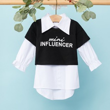 1pc Baby Girl Long-sleeve Cotton  Avant-garde Letter Shirt & Smock