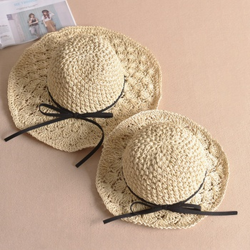 Bowknot Decor Beach Straw Hats for Mommy and Me