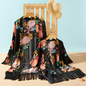 Floral Print Tassel Cover Up for Mommy and Me