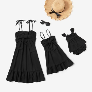 Solid Black Sling Bowknot Design Dresses for Mommy and Me