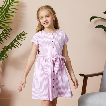 Beautiful  Kid Girl Stripe Shirt Dress