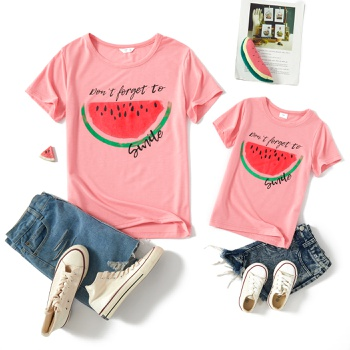 Watermelon Print Pink Short Sleeve T-shirts for Mommy and Me