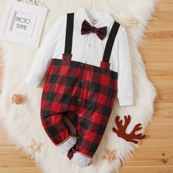 Baby Boy Plaid Bow Tie Jumpsuit