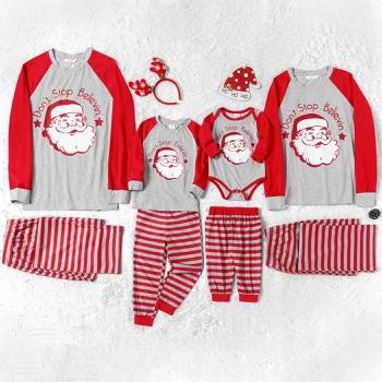 Family Matching Merry Christmas Santa Print Striped Pajamas Sets (Flame Resistant)