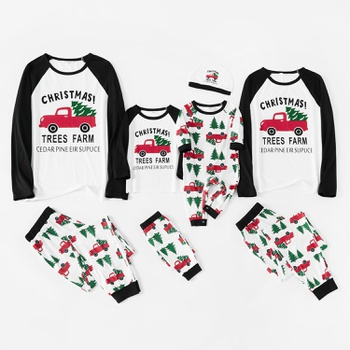 Family Matching Red Truck Carrying Christmas Tree Print Pajamas Sets(Flame resistant)