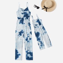 Blue Tie Dye Matching Sling Jumpsuits