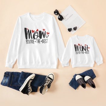 Letter Print White Family Matching Cotton Sweatshirts for Mom and Me