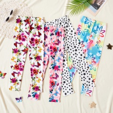 Print Milk Silk Floral and Butterfly Leggings