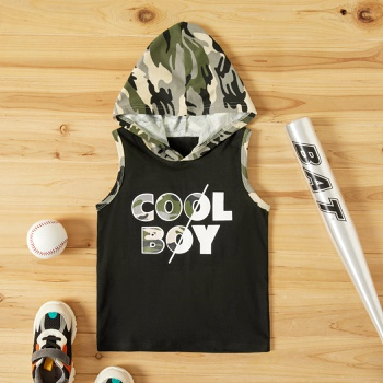 Toddler Boy Letter Camouflage Hooded Top
