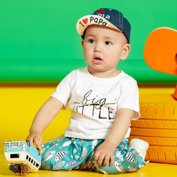 Baby Unisex casual Letter Tee Solid Cotton Baby Clothes