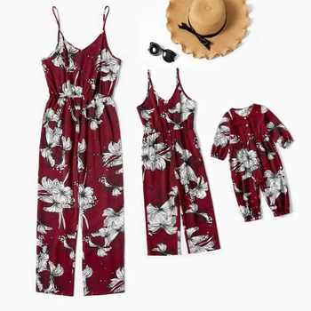 Floral Printed Matching Red Sling Jumpsuits