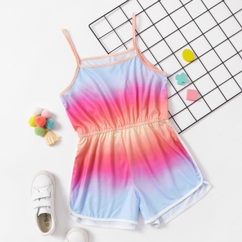 Pretty Kid Girl Gradient Rainbow Romper