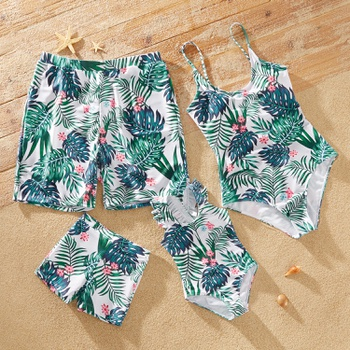 Family Look Plant Print One-piece Matching Swimsuits