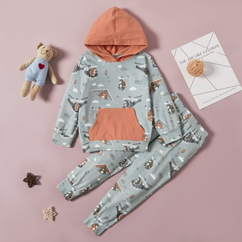 2-piece Baby / Toddler Helicopter Pattern  Hooded Top and Pants Set