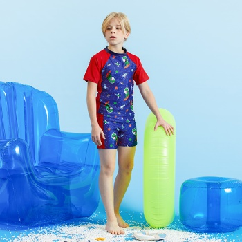 3-piece Kids Boy Space Dinosaur Tee and Shorts with Hat Swimsuit