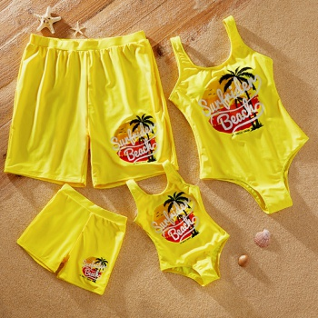 Beach View Coconut Tree Print One-piece Family Matching Swimsuits