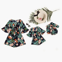 Mommy and Me Floral Print Hollow Out V-neck Rompers