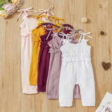 Baby Girl Solid Ruffled Strap Jumpsuit