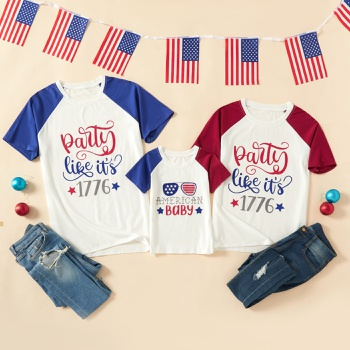 Independence Day Series Family Matching Raglan sleeves Tops