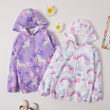 Trendy Unicorn Allover Print Zipper Hooded Coat Jackets