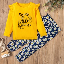 2-piece Baby / Toddler Letter Daisy Print Pullover and pants Set