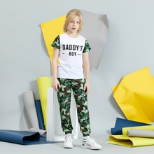 Kids Boy Letter Print Tee and Camouflage Pants Set