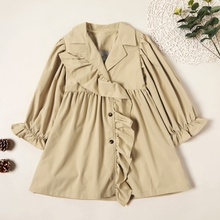 Stylish Solid Ruffled Button Jacket Overcoat