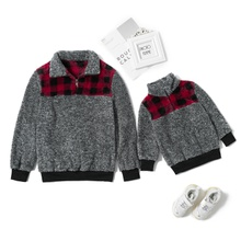 Plaid Splice Plush Zipper Sweaters for Mom and Me
