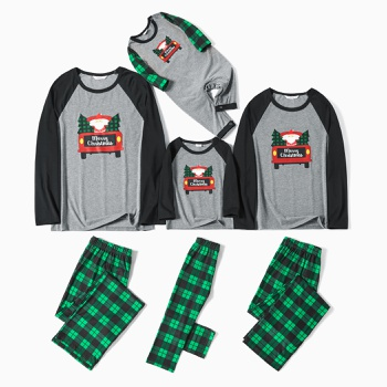 Family Matching Red Car Driving Santa and Christmas Tree Print Plaid Pajamas Sets(Flame resistant)