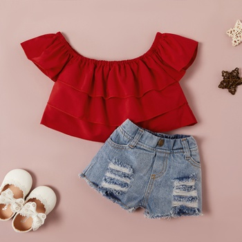 Baby Girl Sweet Solid Top and Denim Shorts Set