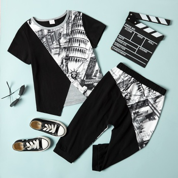 Trendy Kid Boy 2-Piece Sketch Print Set