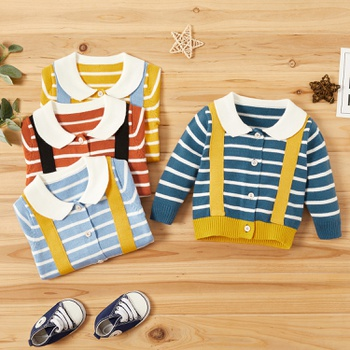 Baby Unisex Casual Striped  Sweaters