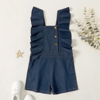 Kids Girl Ruffled Button Denim Suspender Jeans